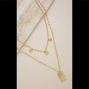 Ettika NWT Disc & Tag Layered Chain Necklace